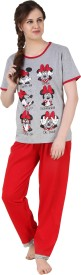 Big Pout Women's Printed Red Top & Pyjama Set