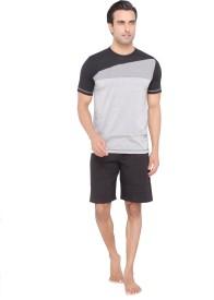 Valentine Men's Solid Grey Top, Capri & Shorts Set