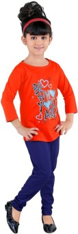 Bella & Brat Girl's Graphic Print Orange, Purple Top & Pyjama Set