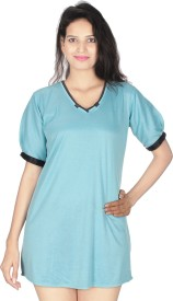 Kanika Women's Solid Blue Sleepshirt
