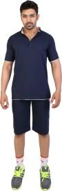 Obvio Men's Solid Blue T-shirt & Three-forth Set