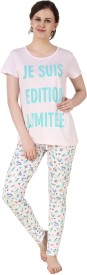 Big Pout Women's Printed Pink Top & Pyjama Set