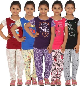 Meril Girl's Printed Pink, Maroon, Black, Blue, Purple Top & Pyjama Set