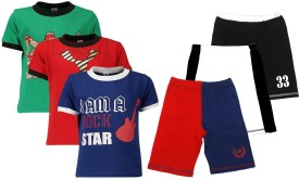 Gkidz Boy's Printed Multicolor Top & Shorts Set