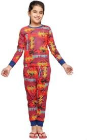 Nuteez Girl's Printed Red Top & Pyjama Set