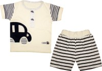 MINI TAURUS Baby Boy's Printed White Top & Shorts Set