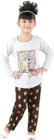 Bella & Brat Girl's Printed Brown, White Top & Pyjama Set