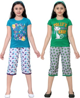 Sinimini Girl's Printed Top & Capri Set