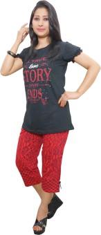 Indiatrendzs Women's Printed Top & Pyjama Set