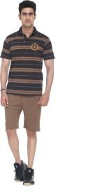 Colors & Blends Bermuda Suit Men's Striped Brown Top & Shorts Set