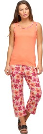 Nuteez Women's Printed Pink Top & Capri Set
