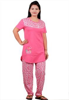 UNO COTTON Women's Printed Red, Yellow, Dark Green, Pink, Light Blue Top & Pyjama Set