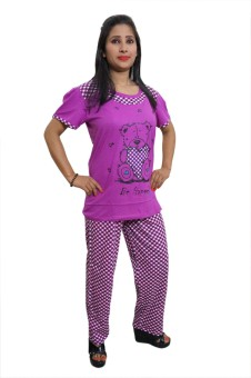 Indiatrendzs Women's Printed Pink Top & Pyjama Set
