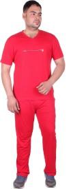 Vivid Bharti Men's Printed Red Top & Pyjama Set