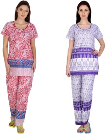 Simrit Women's Printed Red, Purple Top & Pyjama Set