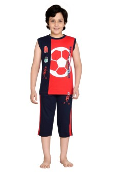 Punkster Boy's Graphic Print T-shirt & Three-forth Set