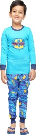 Nuteez Boy's Printed Blue Top & Pyjama Set