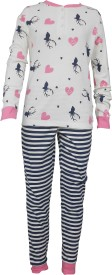 Sweet Dreams Girl's Floral Print White Top & Pyjama Set