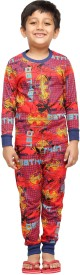 Nuteez Boy's Printed Red Top & Pyjama Set