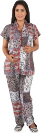 Vixenwrap Women's Printed Multicolor Top & Pyjama Set