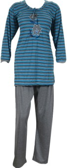 Indiatrendzs Women's Striped Top & Pyjama Set: Night Suit