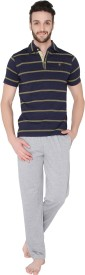 Valentine Men's Striped Top & Pyjama Set