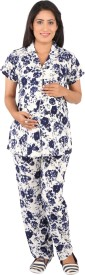 Vixenwrap Women's Floral Print White, Blue Top & Pyjama Set