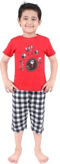 Punkster Baby Boy's Graphic Print T-shirt & Three-forth Set - NSTE645QA2JZZXGX