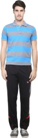 Vimal Men's Striped Blue, Black Top & Pyjama Set
