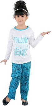 Bella & Brat Girl's Graphic Print White, Blue Top & Pyjama Set