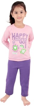 Punkster Girl's Solid Top & Pyjama Sets