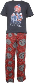 Sweet Dreams Men's Solid Black Top & Pyjama Set