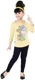 Bella & Brat Girl's Printed Yellow, Black Top & Pyjama Set