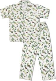 Green Apple Baby Boy's Printed White Top & Pyjama Set