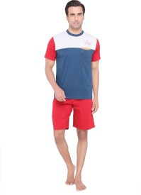 Valentine Men's Solid Blue Top, Capri & Shorts Set