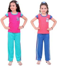 Be 13 Girl's Self Design Multicolor Top & Pyjama Set