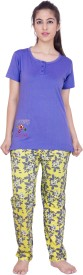 Right Shape Women's Solid, Printed Top & Pyjama Set
