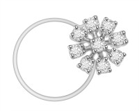Vijisan 0.18 Ct. Floral Shape Cubic Zirconia 18K White Gold Plated Sterling Silver Nose Stud