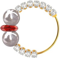 Blue Carats Wedding Diamond, Pearl, Ruby Rhodium Plated Yellow Gold Nose Ring