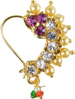 Pearl Paradise Pearl, Cubic Zirconia Yellow Gold Plated Alloy Nose Ring