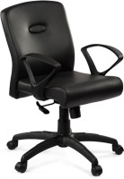 Debono Comfy 272V Medium Back Revolving Chair With Syncro Tilt Mechanism In Black Leatherite Leatherette Office Chair (Brand - Black)