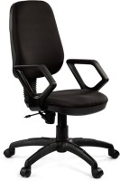 Debono Debono Omega 502V Medium Back Revolving Chair With Push Back Mechanism In Black Fabric Fabric Office Chair (Brand - Black)