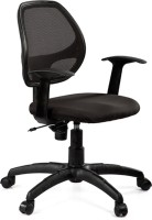 Debono Debono Vento 7906V Medium Back Revolving Chair With Push Back Mechanism In Black Fabric And Mesh Back Fabric Office Chair (Brand - Black)