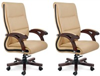 WOODSTOCK INDIA Leatherette Office Chair (Brand - Beige, Brown, Set Of 2)