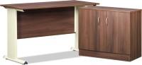 Debono Engineered Wood Office Table (Free Standing, Finish Color - Acacia Dark & Cream Matt)