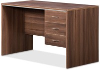 Debono Genius Table With Three Top Hung Drawer In Acacia Dark And Silver Grey By Debono Engineered Wood Office Table (Free Standing, Finish Color - Acacia Dark)