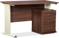 Debono Trendy Table With Three Drawer Pedestal In Acacia Dark & Cream Matt Powder Coated Steel Leg By Debono Engineered Wood Office Table (Free Standing, Finish Color - Acacia Dark & Cream Matt)