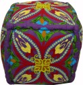 Royal Touch Cotton Pouf (Finish Color - Royal Touch Offers You This Colored Cotton Pouf With Inside Filling With Wool Embroidery (Purple))