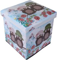 Uberlyfe Leatherette Cube Ottoman (Finish Color - Brown Owls And Red Flowers)