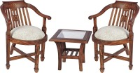 Smarvvv Productions Brown Solid Wood Table & Chair Set (Finish Color - Brown)